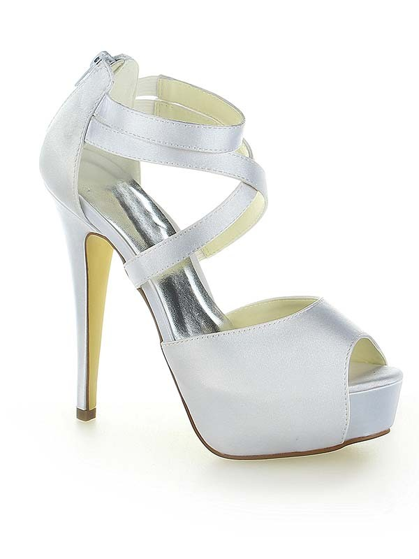 Classical Women Satin Platform Peep Toe Zipper Stiletto Heel White Wedding Shoes