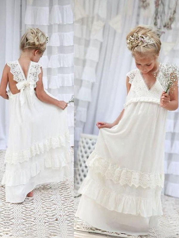 Gorgeous Empire Sleeveless V-neck Floor-Length Lace Chiffon Flower Girl Dress
