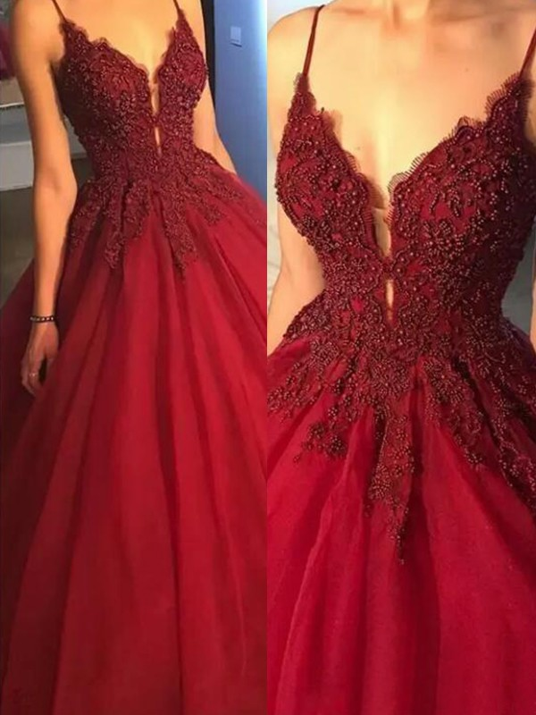 Affordable Ball Gown Sleeveless Spaghetti Straps Sweep/Brush Train Tulle Dress