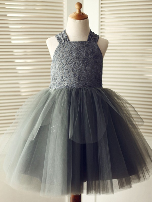Stylish A-Line Knee-Length Straps Lace Sleeveless Tulle Flower Girl Dress