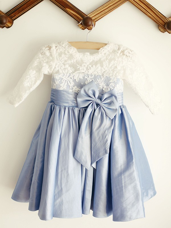 Amazing A-Line Scoop Lace Long Sleeves Taffeta Knee-Length Flower Girl Dress