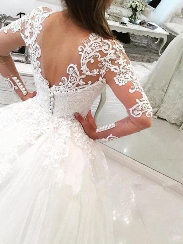 Elegant Ball Gown V-neck Long Sleeves Cathedral Train Lace Tulle Wedding Dress