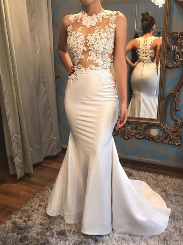 Glamorous Mermaid Sleeveless Scoop Court Train Satin Wedding Dress