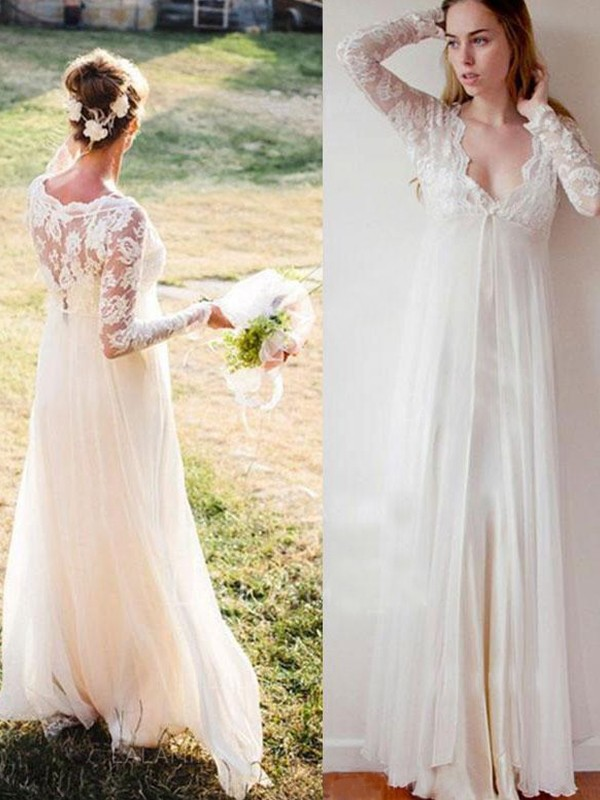 Affordable Empire V-neck Chiffon Lace Long Sleeves Floor-Length Wedding Dress