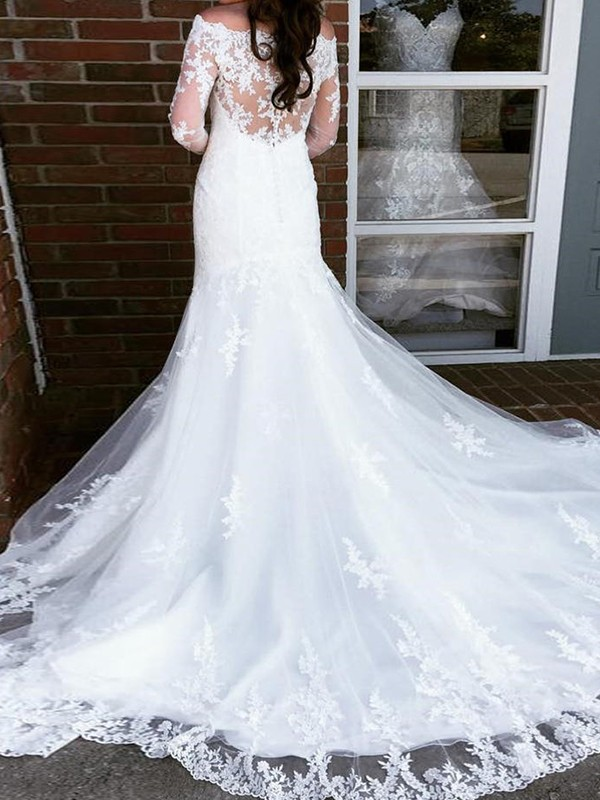 Fashion Mermaid Tulle Off-the-Shoulder Long Sleeves Cathedral Train Wedding Dress