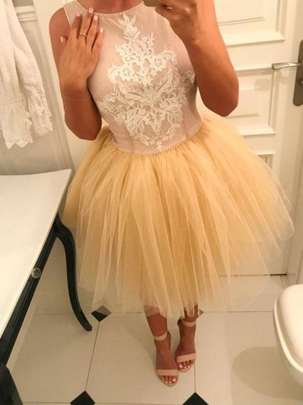 Fashion A-Line Bateau Tulle Short Dress