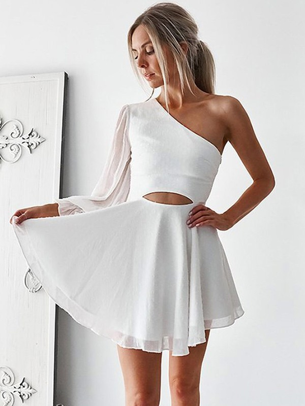 Fashion A-Line Chiffon One-Shoulder Short Dress