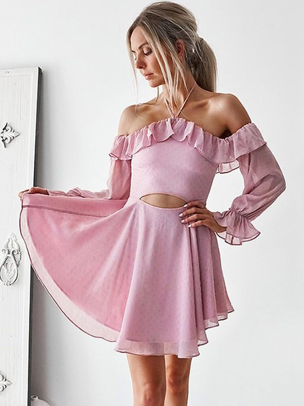 Charming A-Line Off-the-Shoulder Chiffon Short Dress
