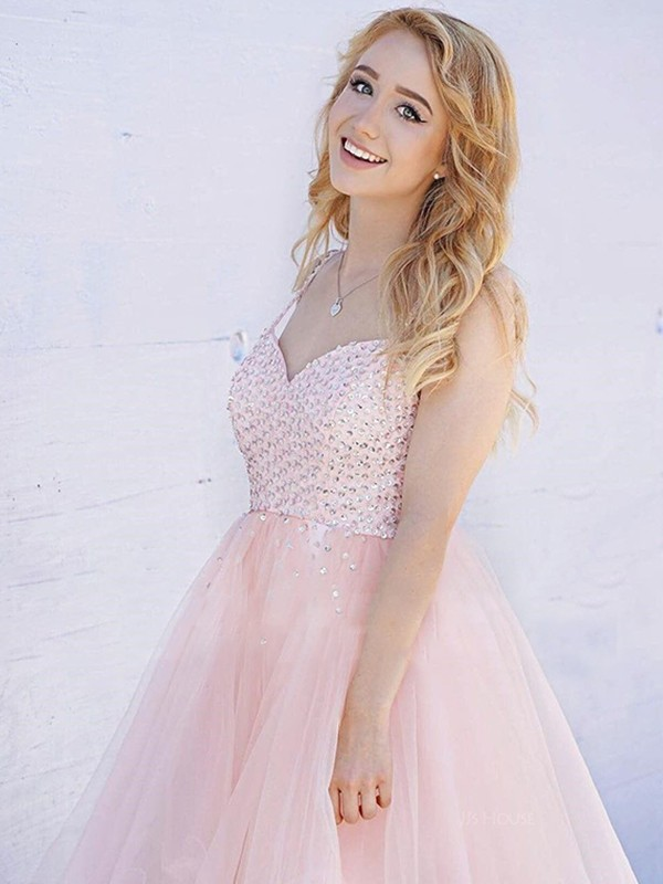 Beautiful A-Line Sleeveless Straps Tulle Short Dress