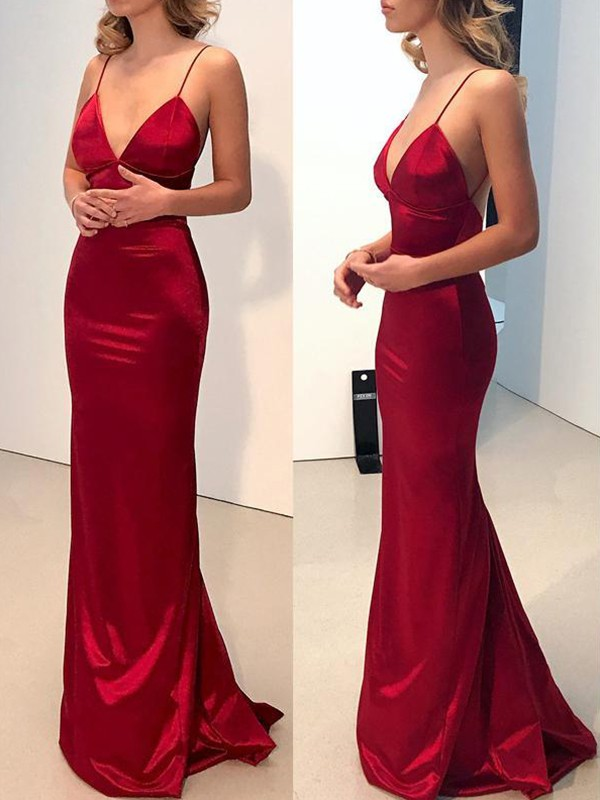 Fashion Sheath Spaghetti Straps V-neck Sweep/Brush Train Satin Dress