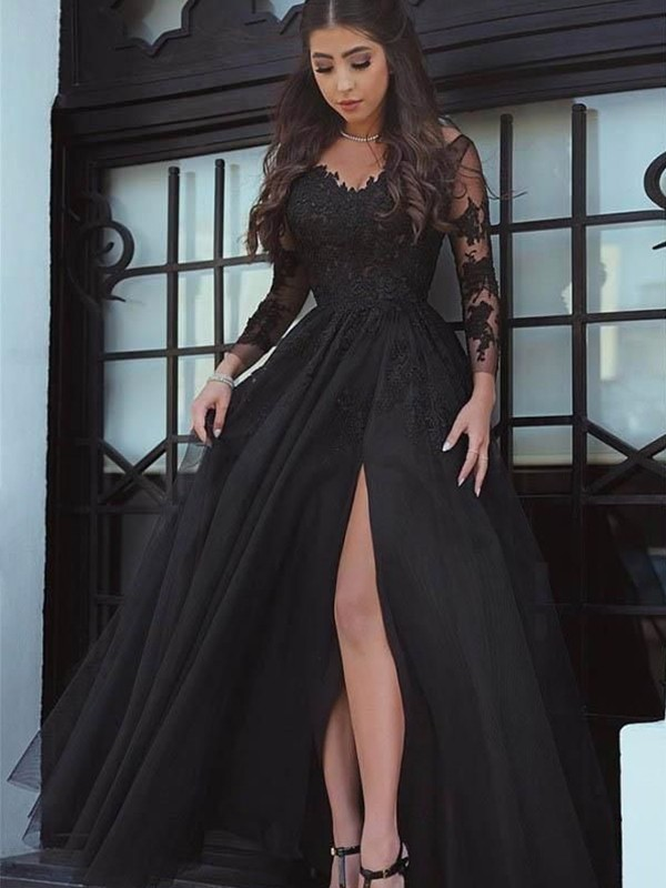 Amazing Ball Gown Long Sleeves Off-the-Shoulder Sweep/Brush Train Lace Dress