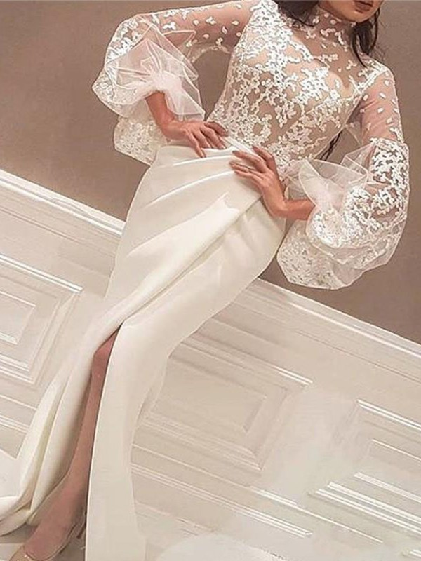 Affordable Mermaid Long Sleeves High Neck Sweep/Brush Train Lace Satin Dress