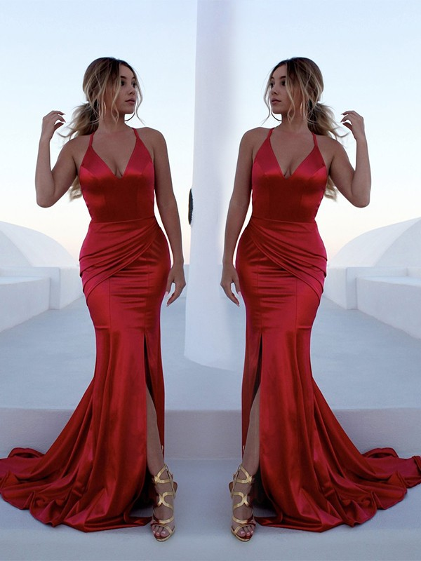 Beautiful Mermaid Sleeveless Halter Sweep/Brush Train Elastic Woven Satin Dress