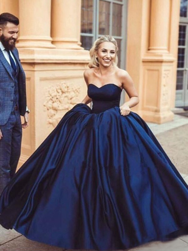 Amazing Ball Gown Sleeveless Sweetheart Sweep/Brush Train Satin Dress