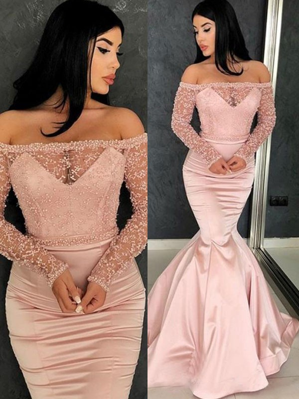 Chic Mermaid Long Sleeves Off-the-Shoulder Sweep/Brush Train Satin Dress