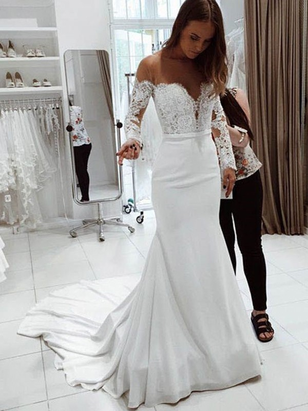 Discount Mermaid Off-the-Shoulder Long Sleeves Court Train Lace Chiffon Wedding Dress
