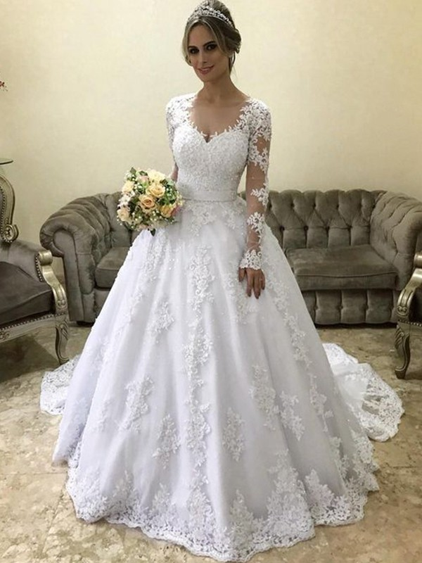 Glamorous Ball Gown V-neck Long Sleeves Court Train Satin Wedding Dress