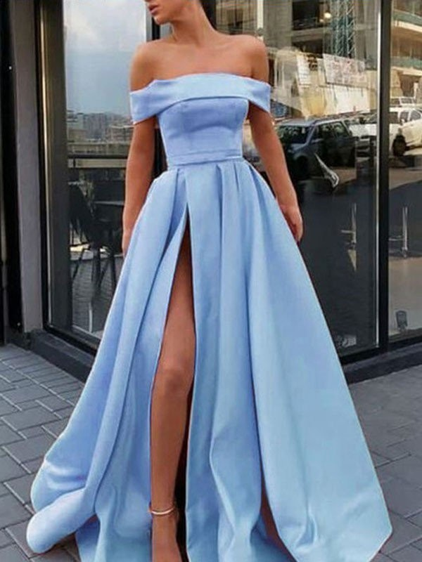 New A-Line Sleeveless Off-the-Shoulder Sweep/Brush Train Satin Dress