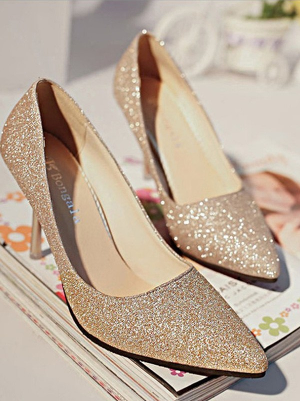 New Women Girls Sparkling Glitter Closed Toe High Heels Stiletto Heel