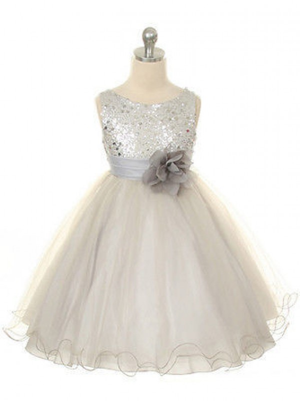 Fashion Ball Gown Jewel Tea-Length Tulle Flower Girl Dress